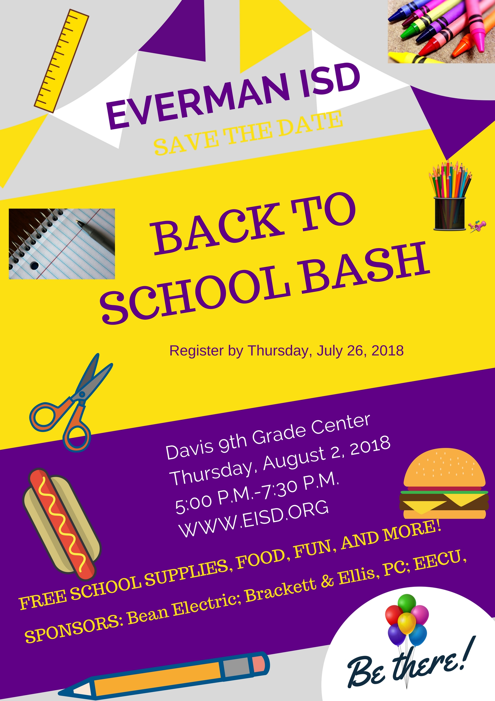 Back to school bash 2018 flyer.  Provides information about the bash on August 2, 2018