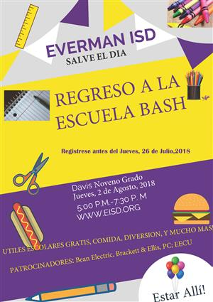 Back to School Bash flyer in Spanish