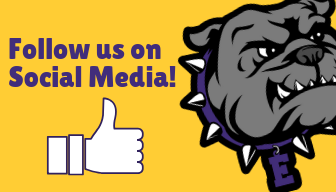 Follow us on social media with the bulldog.