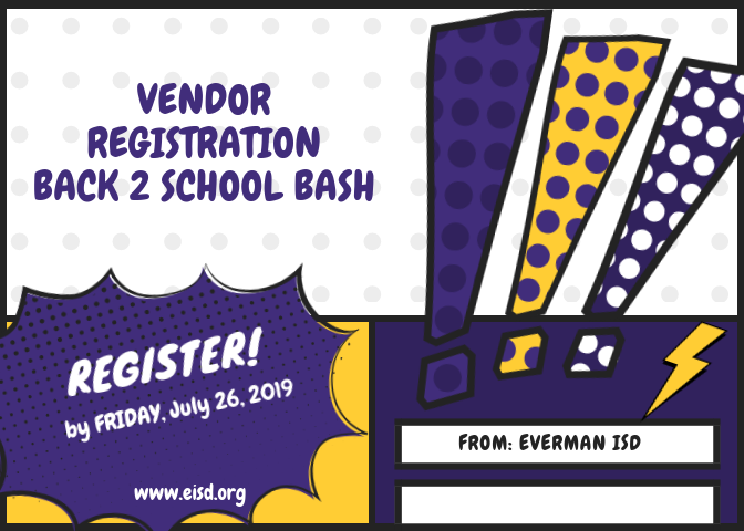 Vendor registration for the back to school bash image.