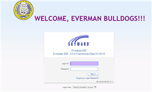 Skyward welcome to Everman Sign